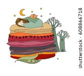 princess on the pea. blankets... | Shutterstock .eps vector #608866718