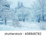 trees covered with first snow... | Shutterstock . vector #608868782
