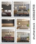 collage of modern home interior.... | Shutterstock . vector #608868908