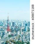 tokyo city skyline with tokyo... | Shutterstock . vector #608871188