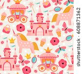 seamless pattern with... | Shutterstock .eps vector #608871362