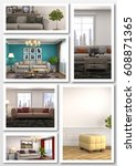 collage of modern home interior.... | Shutterstock . vector #608871365