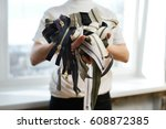 pile of zippers in tailor's... | Shutterstock . vector #608872385