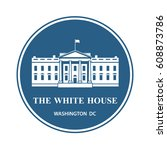 white house building icon in... | Shutterstock .eps vector #608873786