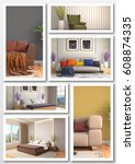 collage of modern home interior.... | Shutterstock . vector #608874335