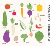 set of different vegetables on... | Shutterstock .eps vector #608875022