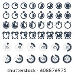 stopwatch icons set  timer... | Shutterstock .eps vector #608876975