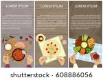 set of persons are eating  top... | Shutterstock .eps vector #608886056