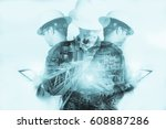 double exposure of engineer or... | Shutterstock . vector #608887286