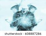 double exposure of engineer or... | Shutterstock . vector #608887286