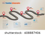 design template  road map... | Shutterstock .eps vector #608887406