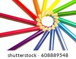 pencils in a circle | Shutterstock . vector #608889548
