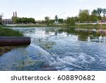 wastewater. polluted river ... | Shutterstock . vector #608890682