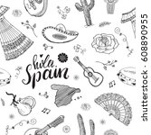 spain seamless pattern doodle... | Shutterstock .eps vector #608890955