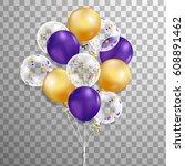 set of purple  gold ... | Shutterstock .eps vector #608891462