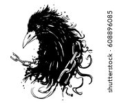 ink rave   grunge crow. | Shutterstock .eps vector #608896085