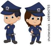 police kid standing.vector and... | Shutterstock .eps vector #608904755