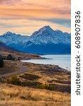 sunset at aoraki mount cook ... | Shutterstock . vector #608907836