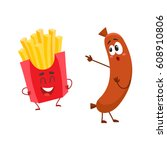 funny laughing french fries... | Shutterstock .eps vector #608910806