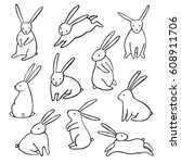 Stock vector hand drawn vector rabbit icons set simple cartoon bunny isolated 608911706