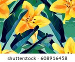 trendy tropical jungle style... | Shutterstock . vector #608916458