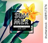 floral flayer or discount... | Shutterstock . vector #608917376