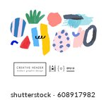 abstract creative header.... | Shutterstock .eps vector #608917982