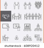 conference meeting icons set.... | Shutterstock .eps vector #608920412