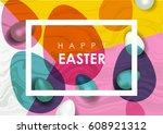 easter festive illustration.... | Shutterstock . vector #608921312