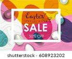 easter sale illustration....   Shutterstock . vector #608923202