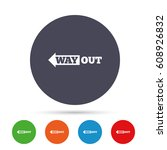 way out left sign icon. arrow...   Shutterstock .eps vector #608926832