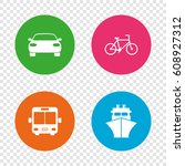transport icons. car  bicycle ... | Shutterstock .eps vector #608927312