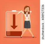 businesswoman character tired.... | Shutterstock .eps vector #608927336