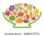 stylized image of a bowl of... | Shutterstock .eps vector #608927972