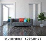 white interior design with... | Shutterstock . vector #608928416