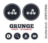 grunge post stamps. dumbbells...   Shutterstock .eps vector #608929886