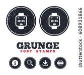 grunge post stamps. smart watch ...   Shutterstock .eps vector #608931866