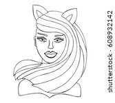 hand drawn catwoman with hair... | Shutterstock .eps vector #608932142
