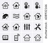 heating and cooling icons. hvac ... | Shutterstock .eps vector #608932166
