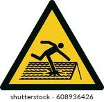 warning  fragile roof   Shutterstock .eps vector #608936426
