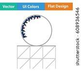 roller coaster loop icon. flat... | Shutterstock .eps vector #608936546