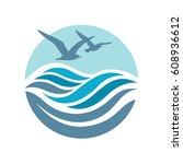 abstract design of ocean logo... | Shutterstock .eps vector #608936612