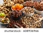 composition with dried fruits... | Shutterstock . vector #608936966