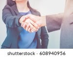 close up businesswoman and... | Shutterstock . vector #608940956