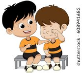 child solace of his friends... | Shutterstock .eps vector #608941682