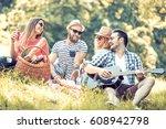 happy young friends having... | Shutterstock . vector #608942798