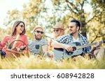 happy young friends having... | Shutterstock . vector #608942828