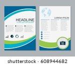 modern business two sided flyer ... | Shutterstock .eps vector #608944682