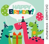 happy birthday   lovely vector... | Shutterstock .eps vector #608947142