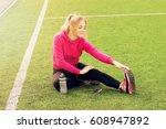 young beautiful blonde hair... | Shutterstock . vector #608947892